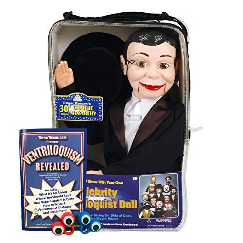 ThrowThings.com Bonus Bundle! Charlie McCarthy Ventriloquist Dummy Doll Plus Ventriloquism Revealed Booklet Plus