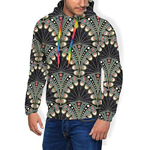 Men\'s Print Fashion Hoodie Art Deco Peacock Feather Padded Velvet Hoodie Sweatshirts Pullover