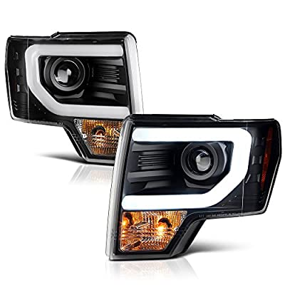 VIPMOTOZ For 2009-2014 Ford F-150 OLED Fiber Optic Tube Headlights Headlamps, Driver and Passenger Side
