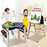 9 in 1 Wooden Multi Activity Kids Table & Art Easel with Storage, Dripex Adjustable and Foldable Building Block Table and Magnetic Art Table for Kids 3 and UP