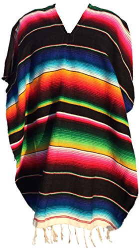Trade MX Authentic Mexican Poncho (Assorted Colors) (Black)