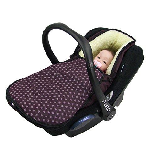BAMBINIWELT Winterfußsack für Babyschale MAXI-COSI Cabrio Fix mit WOLLE STERNE (STERNE bordeaux WOLLE)