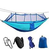 Camping/Jardín Hamaca con mosquitero Muebles de Exterior 1-2 Persona Portátil Colgante Fuerza Solución de paracaídas Swey Swing (Color : Blue Sky Blue)