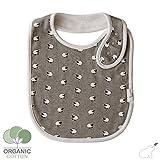 Budding Bear Baby Lätzchen aus 100% Bio Organischer Baumwolle - Premium Einzel Artikel Schaaf Design - Lätzchen mit absorbierender Frottee Rückseite - Mädchen und Jungen Baby Latz (grau weiße Muster)