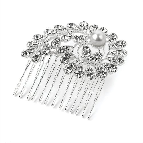 Jora Direct Medium Bridal Silver Clear Crystal Diamante Pearl Paisley Hair Comb Accessory Silver W6.5 x W6.5 x D1 cm by Jora Direct