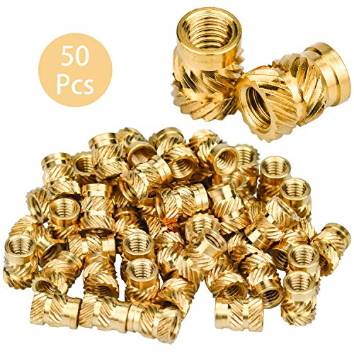 DESON 50Pcs Threaded Insert Nut M4 Knurled Brass Nut Female Thread Kit by Heat or Ultrasound in 3D Printer Parts Plastic Parts
