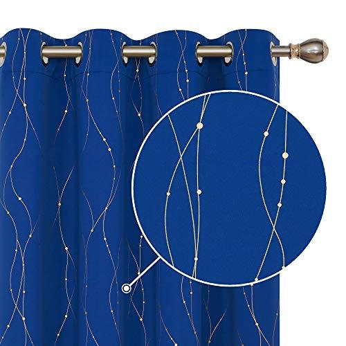 Deconovo Blickdichte Gardinen Verdunkelungsvorhang Vorhänge mit Ösen Wohnzimmer Gold Linie mit Punkt 180x140 cm Königsblau 2er Set