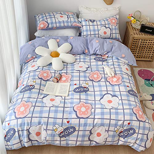 BlueBlue Rabbit Duvet Cover Set Queen 100% Cotton Bedding for Kids Boys Girls Teens Woman Cartoon White Red Flower on Blue Plaid 1 Check Comforter Cover Full with Zipper Ties 2 Pillowcases Queen Bunny