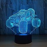 Solo 1 pieza Mountain Car 3D LED Lámpara Night Light Acrílico Lámpara de mesa Touch Changing USB Motocicleta Sleeping Light para regalo de cumpleaños