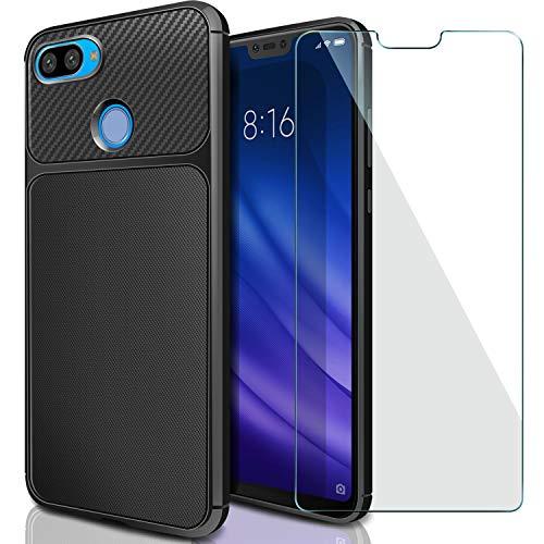 AROYI Xiaomi Mi 8 Lite Cover + Tempered Glass Protective Film, Xiaomi Mi 8 Lite TPU Silicon Case Shock-Absorption Bumper and Anti-Scratch Back Case for Xiaomi Mi 8 Lite - Black