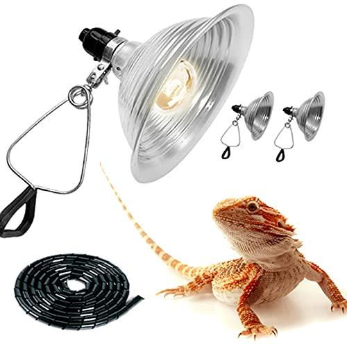 Reptile Clamp Lamp Light, Incandescent Brooder Heat Lamp, Aluminum Reflector Hanger Holder with Bakelite Socket for Reptile Glass Terrarium, Rooms, Garages, Art Studios Or by Photographic (5.5 inch)…