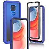 JXVM for Motorola Moto G Play 2021 Case Built-in Screen Protector, Dual Layers Armor Full Body Protection, Clear Back Cover & Stripe Non-Slip Bumper, Heavy Duty Protective Cell Phone Case (Blue)