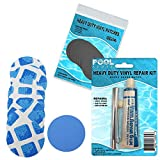 Underwater Pool Repair Kit for Frame and Easy Set Pool | Vinyl Glue | Blue and White Pool Liner Patches