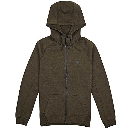 Nike Men's Tech Fleece AW77 1.0 Full-Zip Hoodie, Cargo Khaki Heather/Black, LG