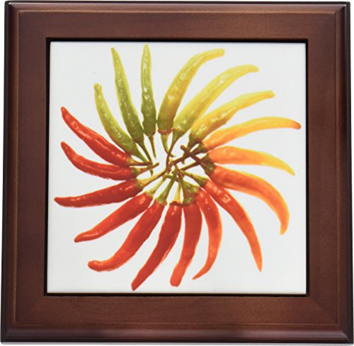 3dRose ft_46855_1 Red Hot Chili Peppers Chili, Chili Pepper, Chilli, Chilli Peppers, Pepper, Peppers, Red Framed Tile, 8 by 8'