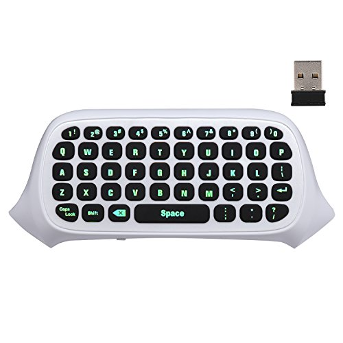 MoKo Xbox One Mini Green Backlight Keyboard, 2.4G Receiver Wireless Chatpad Message Game Keyboard Keypad, with Headset and Audio Jack, for Xbox One/Xbox One S/Xbox One Elite Controller, White