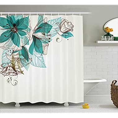 Ambesonne Turquoise Shower Curtain Set, Flowers Buds Leaf At The Top Left Corner Retro Art Festive Season Celebrating Theme, Bathroom Accessories, with Hooks, 84 Inches Extralong