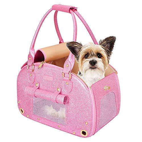 PetsHome Dog Carrier Purse, Pet Carrier, Cat Carrier, Bling Waterproof Premium Leather Pet Travel...