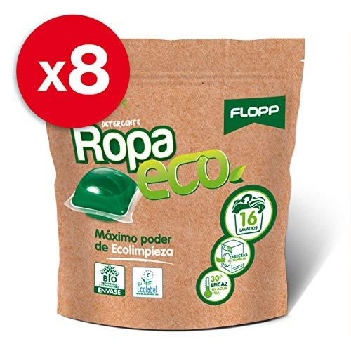 Flopp - Detergente Ecológico en Cápsulas para la Ropa, Pack 8 Unidades | Detergente Eco para Lavadoras Ropa Blanca y Color. | Detergente Ecológico Limpia sin Ensuciar el Planeta.