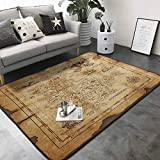 Kitchen Room Floor Mat Rug Colorful Super Detailed Treasure Map Grungy Rustic Pirates Gold Secret Sea History Theme 80'x 96' Kitchen Rugs Non Skid Washable