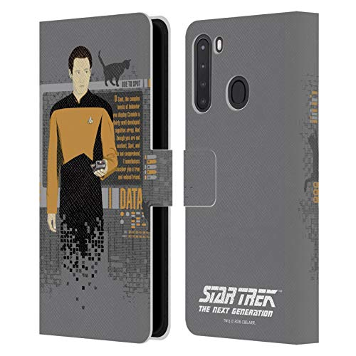 Head Case Designs Officially Licensed Star Trek Data Iconic Characters TNG Leather Book Wallet Case Cover Compatible with Samsung Galaxy A21 (2020)
