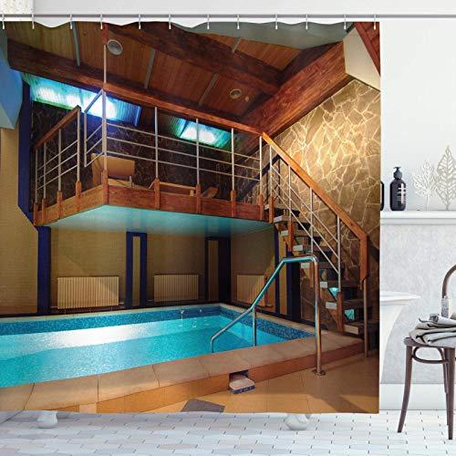 Holdiay Cortina de ducha, fotografía de piscina con escaleras, tema de vacaciones exóticas, días de verano tropical, tela de tela, juego de decoración para baño con ganchos, marrón, azu,55x72 in