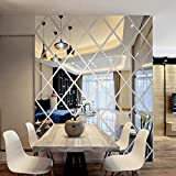 3D Wall Stickers,DIY Rhombus Mirror Sticker For Home Livingroom Decoration (Silver)