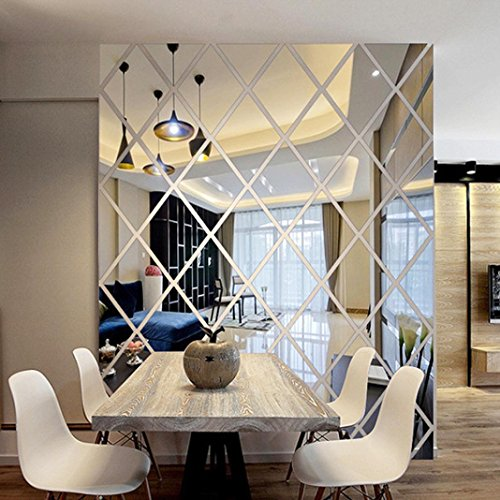 3D Wall Stickers,DIY Rhombus Mirror Sticker For Home Livingroom Decoration -