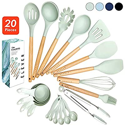 ÉLEVER Kitchen Utensil Set - 20 Cooking Utensils. Kitchen Gadgets for Nonstick Cookware Set. Kitchen Accessories, Silicone Spatula set, Serving Utensils. Best Silicone Kitchen Utensils Tools Gifts by ÉLEVER
