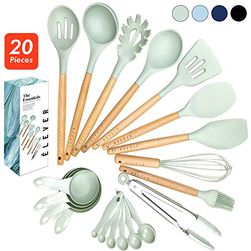 ÉLEVER Kitchen Utensil Set - 20 Cooking Utensils. Kitchen Gadgets for Nonstick Cookware Set. Kitchen Accessories, Silicone Spatula set, Serving Utensils. Best Silicone Kitchen Utensils Tools Gifts