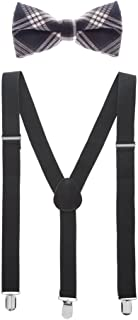 Man of Men - Bowtie & Suspender Set - Checkered Bow Ties and Solid Color Suspenders
