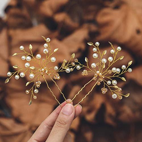 Mayelia Perlen Braut Hochzeit Haarnadeln Gold Haarteil Blatt Haarspangen Perle Braut Haarschmuck für Frauen und Mädchen (2 Stück)
