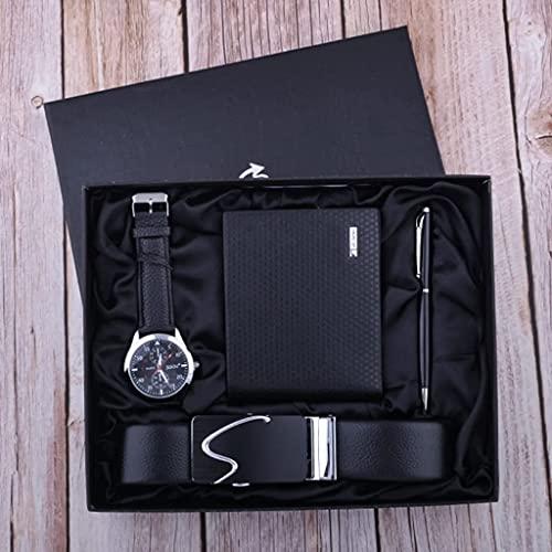 Sgxiyue Reloj de Negocios Conjunto de Regalo Regalo de los Hombres Padre Parcela Cinturón Belleza Firma Pluma (Color : Black)