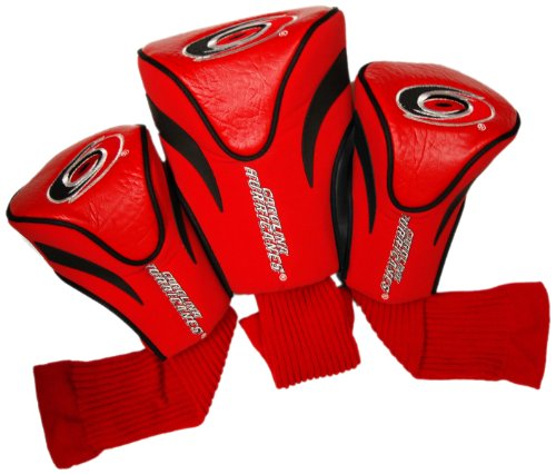 Team Golf NHL Carolina Hurricanes Contour Golf Club Headcovers (3 Count), Numbered 1, 3, & X, Fits Oversized Drivers, Utility, Rescue & Fairway Clubs, Velour lined for Extra Club Protection