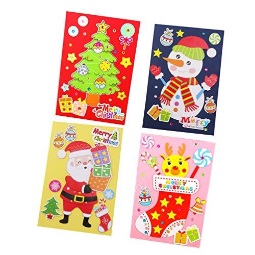 MILISTEN 4 Stück Kartenherstellung Kits DIY Handgemachte Grußkarte Kits für Kinder Weihnachtskarte Gefaltete Karten Und Passende Umschläge Danke Karte Kunsthandwerk Crafty Set Geschenke
