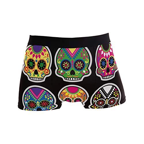 Herren Unterhose mit Totenkopf-Hintergrund, bequem, lässig, Alltags-Boxershorts, Männer, sexy Unterhosen, Geschenk für Mann Gr. X-Large, Schwarz