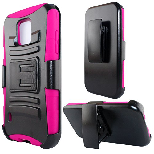 Galaxy S5 Active Case, Dual Layers [Combo Holster] Case and Built-in Kickstand Bundled with [Premium HD Screen Protector] Hybird Shockproof(Camo)