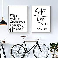 黒白いポスター北欧の簡単な引用美しい家の壁の芸術の装飾居間のためのキャンバスの絵画の絵-40X60cm16x24インチフレームなし