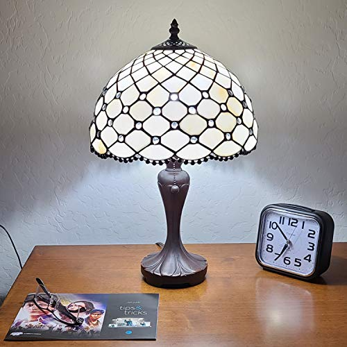 Amora Lighting Tiffany Style Table Lamp Banker Jeweled Beaded 19' Tall Glass White Yellow Stains Tan Elegant Vintage Light Décor Living Room Bedroom Office Handmade Gift AM120TL12B, 12 Inches