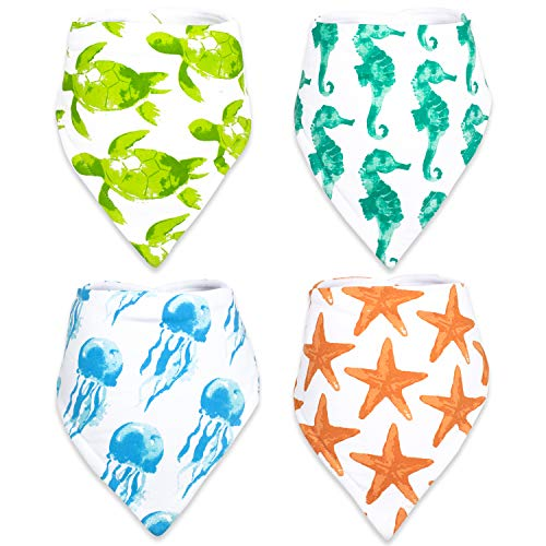 Stadela 100% Cotton Baby Bandana Drool Bibs with Snaps for Drooling Teething Burp Cloths 4 Pack Baby Shower Gift Set Unisex Boy and Girl - Coral Reef Ocean Sea Beach Summer Tropical Turtle Seahorse