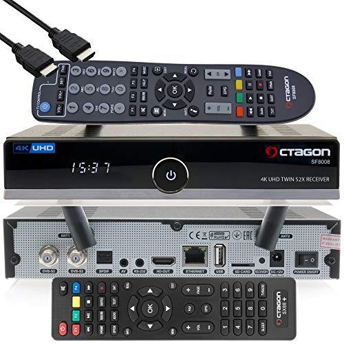 OCTAGON SF8008 4K UHD HDR Twin Sat 2xDVB-S2X Multistream - Receptor satélite, incluye mando a distancia, cable HDMI y WiFi dual