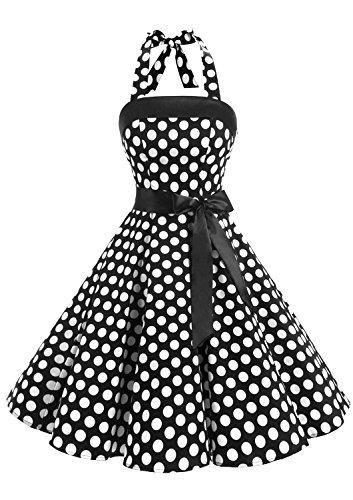 Timormode Abito Vintage Donne Vestito Cocktail 1950 Gonna retrò Estiva Rockabilly Allacciatura al Collo di Polka Dots Molti Colori Big Black White S