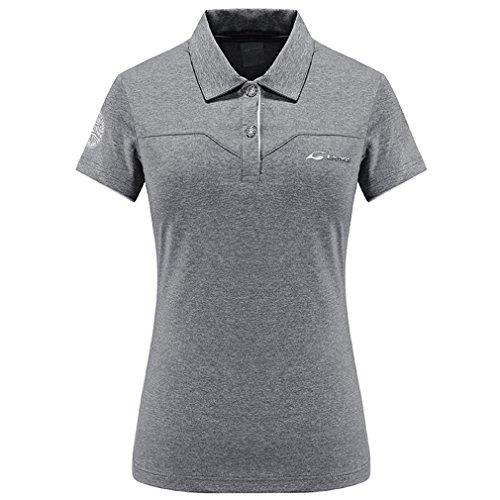 emansmoer Femmes Col Rabattu Manches Courtes Golf Polo T-Shirt Séchage Rapide Respirant Outdoor Sports T-Shirt Dames Fitness Running Casual Élégant Tops (X-Large, Gris)