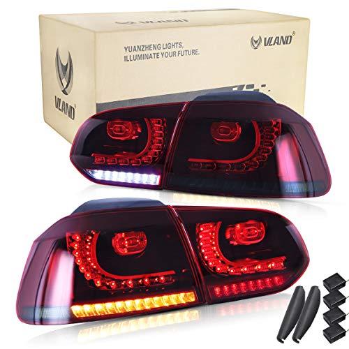 VLAND Rückleuchten für Golf 6 MK6 VI TSI TDI GTD R 2008 2009 2010 2011 2012 2013 LED Lightbar Heckleuchten,mit Dynamik Blinker,Mit E-Prüfzeichen,LED Technik Rücklichter,Rot und geräuchert