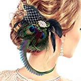 Number-one Fascinators Peacock Feather Hair Clip Headband Mesh Rhinestone Bridal Wedding Costume Cocktail Tea Party Photography Headwear Headdress Hair Accessories with Hairpin for Women