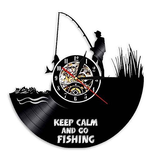 Reloj de pared con diseño de Keep Calm and Go Fishing 3D, decoración para el hogar, reloj de pared, reloj de pared, regalo para los amantes de los pescadores y al aire libre.