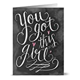 Note Card Cafe Inspirational Greeting Cards with Kraft Kraft Envelopes | 24 Pack | Chalkboard You Got This Girl | Blank Inside, Glossy Finish | Set for Greeting Cards, All Occasions, Birthdays