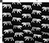 Tiger, Zoo, Schwarz Und Weiß Stoffe - Individuell Bedruckt