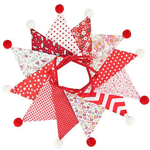 G2PLUS 4M Banderines,Guirnalda de Banderines con 12 Banderines,para Dormitorio de Fiesta de Cumpleaños o Decoración de Bodas(Rojo)