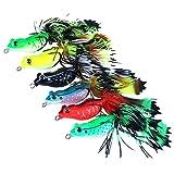 HENGJIA 6Weiche Topwater Frösche für Bass Frog Angeln Köder Köder Weich Kunststoff Künstliche Angeln Tackle mit Haken Harter Köder Schlangenkopf Killer Topwater Jig 5,5cm
